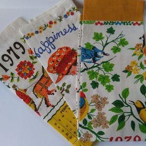 VTG 1970's Linen Calendar Tea Towels NOS